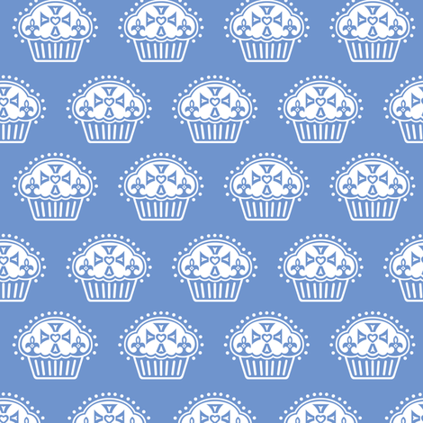 Keep Calm and Eat Cupcakes - blue fabric by andibird on Spoonflower - custom fabric