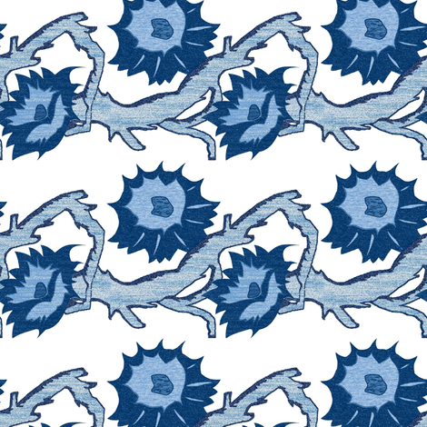 Blue Briar Patch Flowers fabric by mag-o on Spoonflower - custom fabric