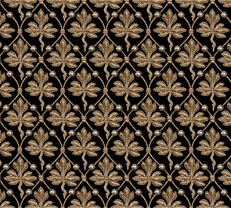 Elizabeth I. Phoenix Portrait Fabric- Black/Gold - With Pearls fabric by bonnie_phantasm on Spoonflower - custom fabric