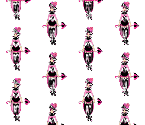 Victorian Circus Girl in Pink fabric by beesocks on Spoonflower - custom fabric