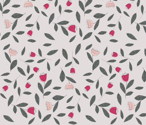 fifties_floral_pink_grey fabric by tractorgirl on Spoonflower - custom fabric