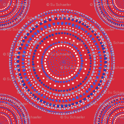 Mandala or Dancing Dervish circles on red by Su_G