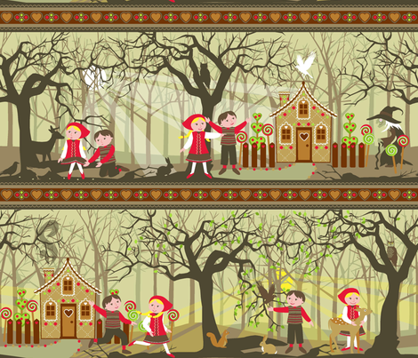 Hansel and Gretel panel fabric by cjldesigns on Spoonflower - custom fabric
