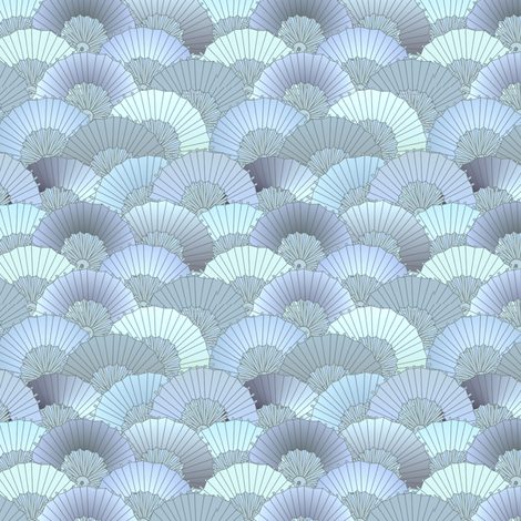 © 2011 Fans Bleu fabric by glimmericks on Spoonflower - custom fabric