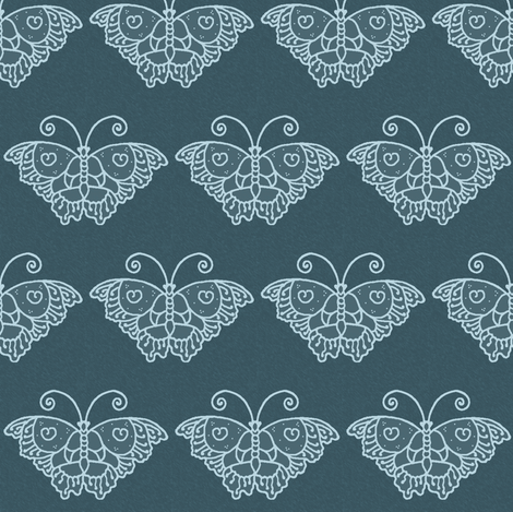 Butterfly1a-DK-TURQUOISE-BLUE fabric by mina on Spoonflower - custom fabric