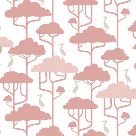 If By Air - Tree Tops, Pink fabric by ttoz on Spoonflower - custom fabric