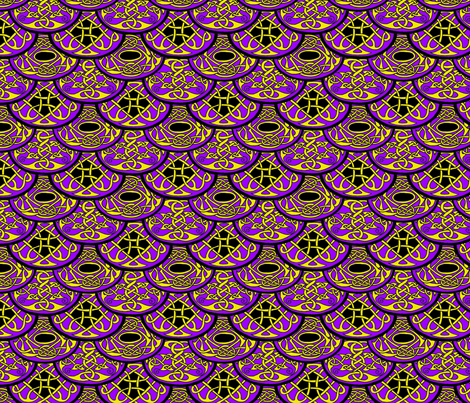 Celtic Clouds purple yellow black fabric by ingridthecrafty on Spoonflower - custom fabric