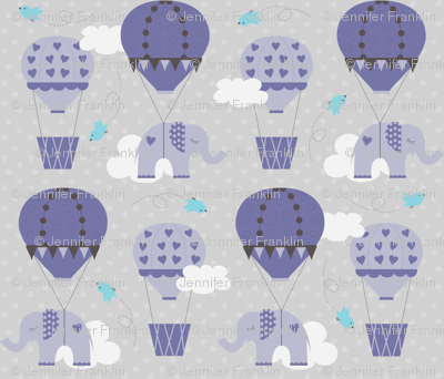 Purple Hot Air Balloon Elephant