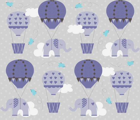 Purple Hot Air Balloon Elephant fabric by jenniferfranklin on Spoonflower - custom fabric