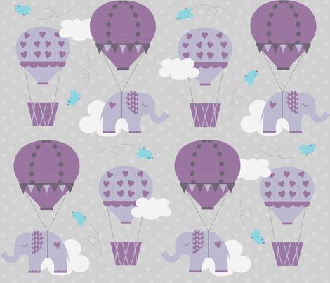 Purple Hot Air Balloon Elephant fabric by jenniferfranklin on Spoonflower - custom fabric