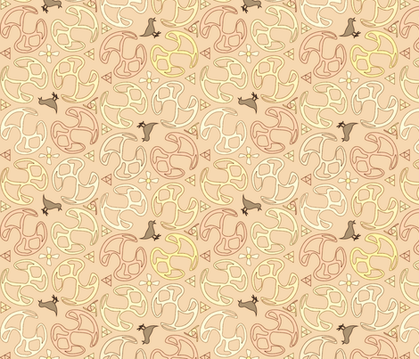 ©2011 Bird Motif-Peach fabric by glimmericks on Spoonflower - custom fabric