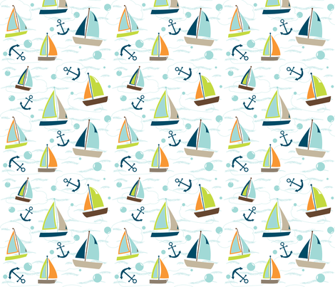 Sailboats - In The Land of Boys fabric by aimeemarie on Spoonflower - custom fabric