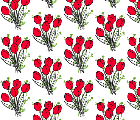 red tulips fabric by caresa on Spoonflower - custom fabric