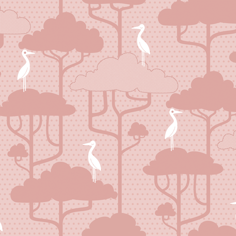If By Air - Tree Tops, Dk Pink fabric by ttoz on Spoonflower - custom fabric