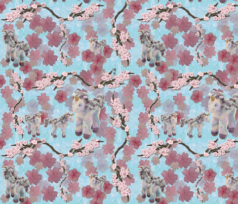 Unicorns in sakuraland fabric by hakuai on Spoonflower - custom fabric