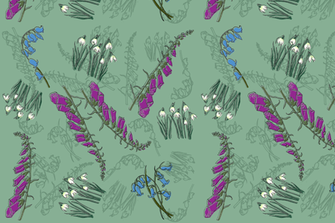 Kitty Jay- Scattered Flowers (green) fabric by woodle_doo on Spoonflower - custom fabric