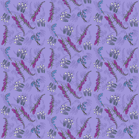 Kitty Jay Scattered flowers (purple) fabric by woodledoo on Spoonflower - custom fabric