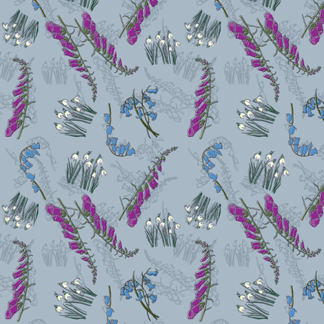 Kitty Jay Scattered flowers fabric by woodledoo on Spoonflower - custom fabric
