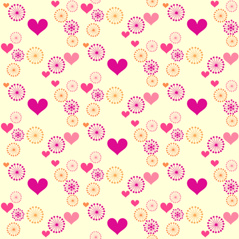 Popbi! - Sugarbaby - Retro Flowers & Hearts - © PinkSodaPop 4ComputerHeaven.com  fabric by pinksodapop on Spoonflower - custom fabric