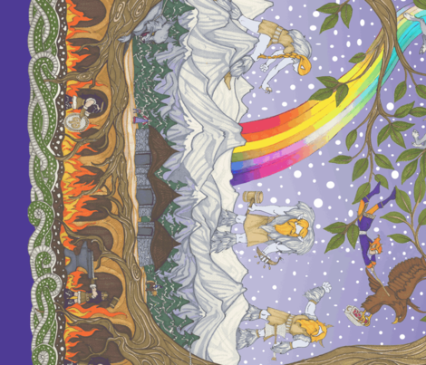Yggdrasil, The World Tree  (zoom for full panel) fabric by ceanirminger on Spoonflower - custom fabric