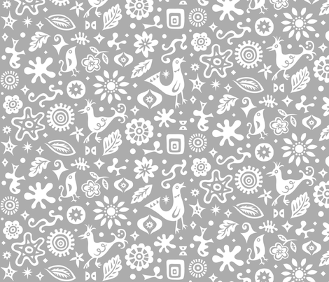 Retro Birds and Shapes - grey fabric by andibird on Spoonflower - custom fabric
