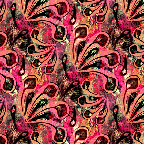 Feathers Pink fabric by kezia on Spoonflower - custom fabric