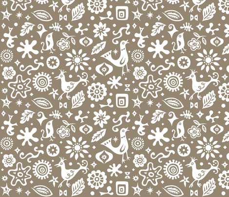 Retro Birds and Shapes -  brown  fabric by andibird on Spoonflower - custom fabric