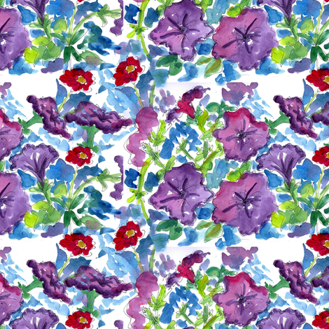 Purple Petunias fabric by countrygarden on Spoonflower - custom fabric