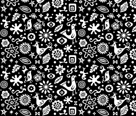 Retro Birds and Shapes - black fabric by andibird on Spoonflower - custom fabric
