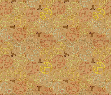 ©2011 Bird Motif-Peach Papyrus fabric by glimmericks on Spoonflower - custom fabric