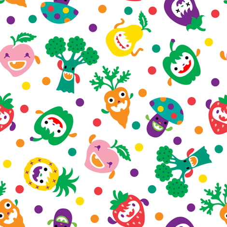 Cute Vegetables and Fruits fabric by andibird on Spoonflower - custom fabric