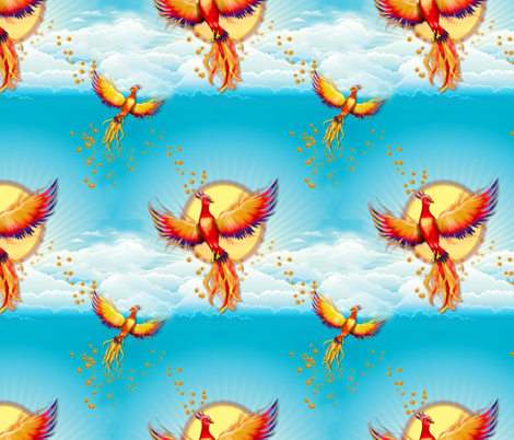 Birth of The Phoenix fabric by spicetree on Spoonflower - custom fabric