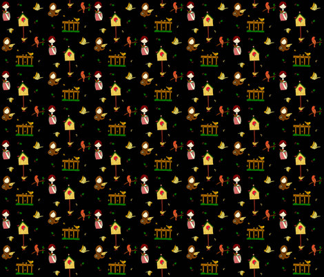 Birds black fabric by quemona! on Spoonflower - custom fabric
