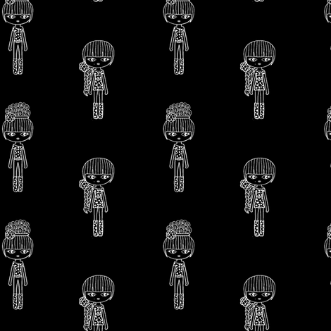 fashion girl black & white small fabric by sawabona on Spoonflower - custom fabric