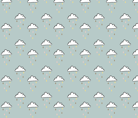 sprinkle rain clouds fabric by cherryandcinnamon on Spoonflower - custom fabric