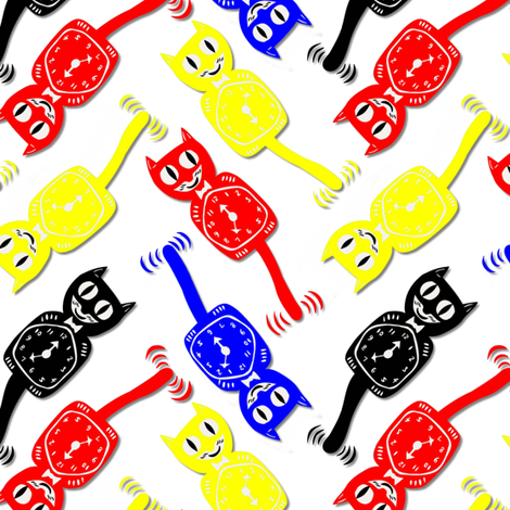 cobalt, yellow, red kit kats fabric by vo_aka_virginiao on Spoonflower - custom fabric