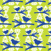 Birds on Branches - Blue & Chartreuse