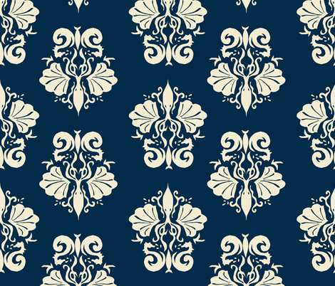 squidallion cream navy fabric by mugsy&lulu on Spoonflower - custom fabric