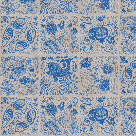 Palace Garden | Lapis Lazuli Woodblock Tile fabric by forest&sea on Spoonflower - custom fabric