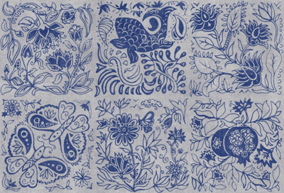 Palace Garden | Indigo Woodblock Tile