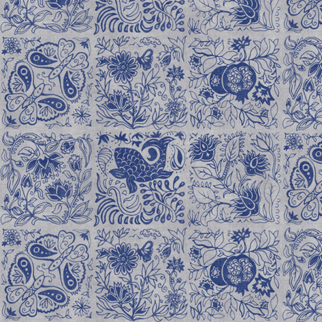 Palace Garden | Indigo Woodblock Tile fabric by forest&sea on Spoonflower - custom fabric