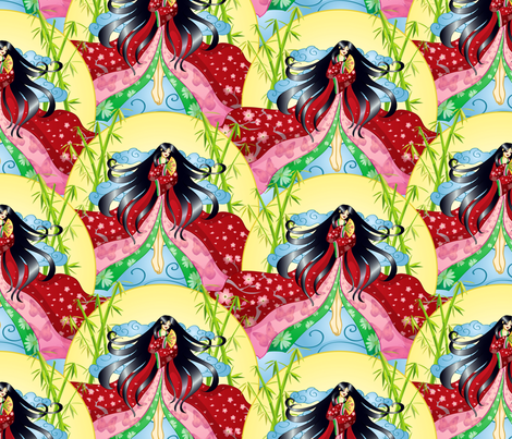 Princess Kaguya fabric by jaana on Spoonflower - custom fabric