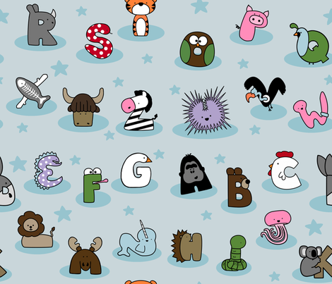 Animal Alphabet Show- Large on Blue fabric by mayabella on Spoonflower - custom fabric