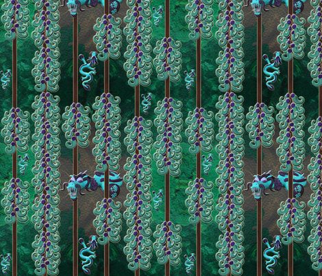 Jade vine dragon fabric by hakuai on Spoonflower - custom fabric