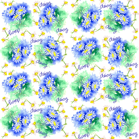 Daisy Blue fabric by countrygarden on Spoonflower - custom fabric