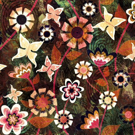 Folk Floral Texture fabric by kezia on Spoonflower - custom fabric