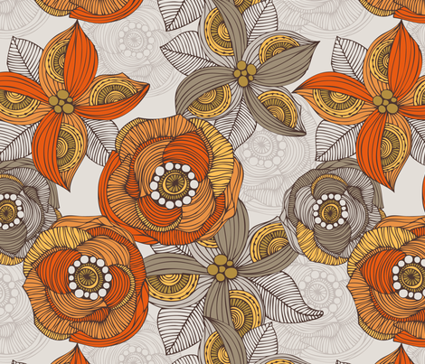 Orange and Grey fabric by valentinaharper on Spoonflower - custom fabric