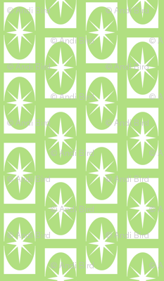 Stardust retro - green 1950 retro fabric design