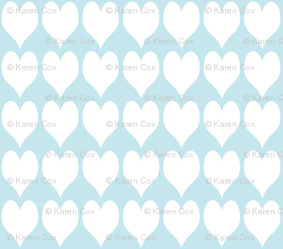 Hearts and French Script Tiffany Blue Three