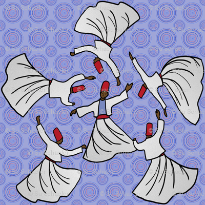A whirl of dervishes on pale blue
